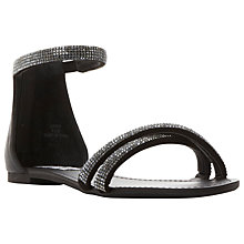 Buy Steve Madden Zippy Diamante Strap Flat Sandals, Black Online at johnlewis.com