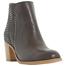 Buy Dune Quenbee Block Heeled Ankle Boots, Black Leather Online at johnlewis.com