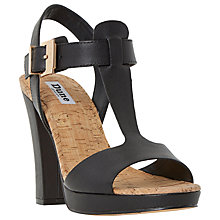 Buy Dune Ismin Block Heeled Sandals, Black Leather Online at johnlewis.com