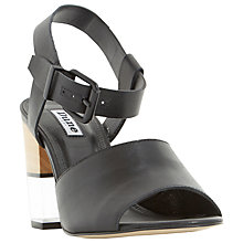 Buy Dune Jenny Block Heel Sandals, Black Leather Online at johnlewis.com