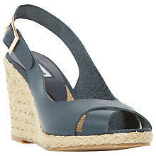 Buy Dune Kia High Wedge Heeled Sandals, Navy Leather Online at johnlewis.com