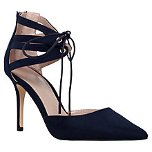 Buy Carvela Krisp Tie Cut Out Stiletto Court Shoes, Navy Suedette Online at johnlewis.com