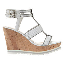 Buy Mint Velvet Juno Wedge Heeled Sandals, White/Grey Leather Online at johnlewis.com