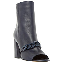 Buy Dune Octavia Peep Toe Block Heeled Boots, Navy Leather Online at johnlewis.com