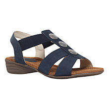 Buy Carvela Comfort Scatter Suede Low Wedge Sandals, Navy Online at johnlewis.com