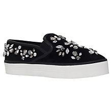 Buy Carvela Luxor Flatform Slip On Trainers, Black Suede Online at johnlewis.com
