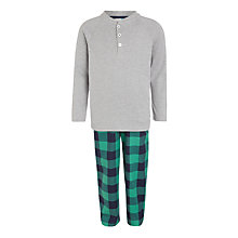 Buy John Lewis Boys' Henley Check Pyjamas, Green/Grey Online at johnlewis.com