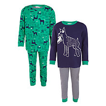 Buy John Lewis Boys' Dog Print Pyjamas, Pack of 2, Green/Blue Online at johnlewis.com