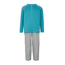Buy John Lewis Boys' Henley Stripe Pyjamas, Aqua Online at johnlewis.com