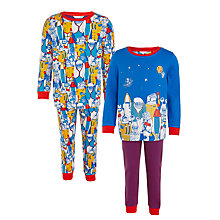 Buy Hatley Boys' Astronaut Print Pyjamas, Pack of 2, Blue/Multi Online at johnlewis.com