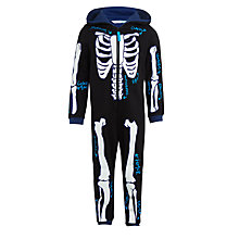 Buy John Lewis Children's Glow In The Dark Skeleton Onesie, Black/Multi Online at johnlewis.com