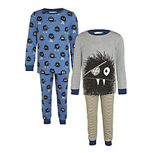 Buy John Lewis Children's Monster Print Glow In The Dark Pyjamas, Pack of 2, Blue/Grey Online at johnlewis.com