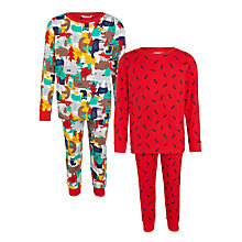 Buy John Lewis Boys' Woodland Print Pyjamas, Pack of 2, Red Online at johnlewis.com