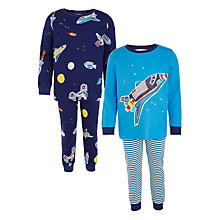 Buy John Lewis Children's Space Craft Pyjamas, Pack of 2, Blue Online at johnlewis.com