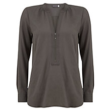 Buy Mint Velvet Zip Front Blouse, Green Online at johnlewis.com