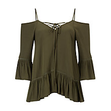 Buy Miss Selfridge Lace Up Cold Shoulder Cami, Khaki Online at johnlewis.com