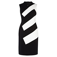 Buy Karen Millen Striped Panel Dress, Black/White Online at johnlewis.com