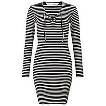 Buy Miss Selfridge Stripe Eyelet Rib Dress, Multi Online at johnlewis.com