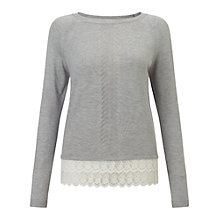 Buy Miss Selfridge Lace Hem Point Jumper, Light Grey Online at johnlewis.com