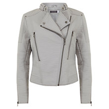Buy Mint Velvet Collarless Biker Jacket, Dove Online at johnlewis.com