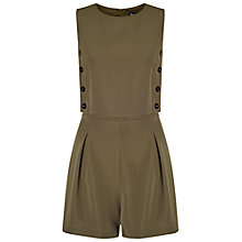 Buy Miss Selfridge Button Detail Playsuit, Khaki Online at johnlewis.com