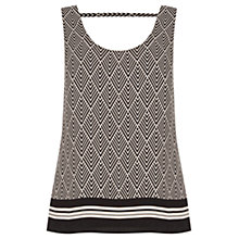 Buy Oasis Graphic Patched Vest Top, Black/White Online at johnlewis.com