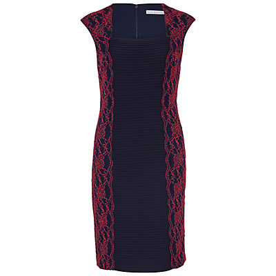 Gina Bacconi Lace Panel Jersey Dress, Spring Navy/Red