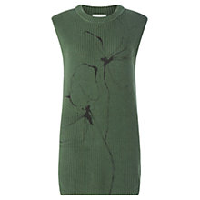 Buy Jigsaw Floral Ribbed Tank Jumper, Moss Online at johnlewis.com