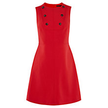 Buy Karen Millen Button Detail Mini Dress, Red Online at johnlewis.com