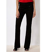 Buy Karen Millen Button Detail Kickflare Jeans, Black Online at johnlewis.com