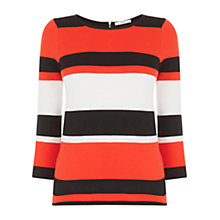 Buy Oasis Compact Stripe Jumper, Multi/Orange Online at johnlewis.com