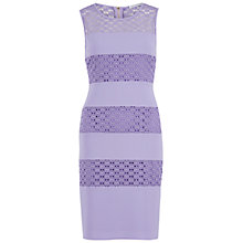 Buy Gina Bacconi Crochet Crepe Banded Dress, Spring Lavender Online at johnlewis.com