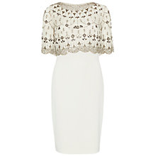 Buy Gina Bacconi Moss Crepe Dress with Beaded Overtop, Pewter Online at johnlewis.com
