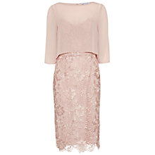 Buy Gina Bacconi Bouquet Guipure Dress with Chiffon Top, Apricot Crush Online at johnlewis.com