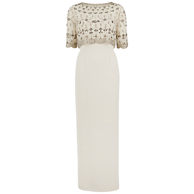 Gina Bacconi Crepe Maxi Dress With Vintage Beaded Top, Pewter