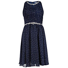 Buy Gina Bacconi Embellished Spot Print Dress, Navy/White Online at johnlewis.com