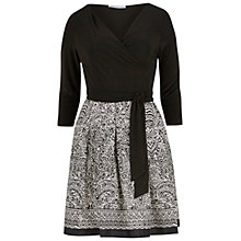 Buy Gina Bacconi Aztec Print Wrap Dress, Black/White Online at johnlewis.com