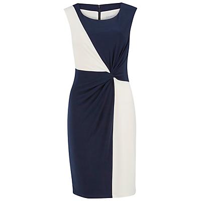Gina Bacconi Jersey Geometric Contrast Dress, Navy/Ivory
