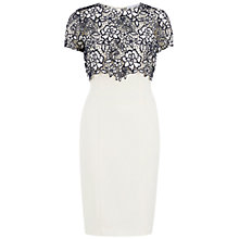Buy Gina Bacconi Crepe Dress with Bouquet Guipure Overtop Online at johnlewis.com