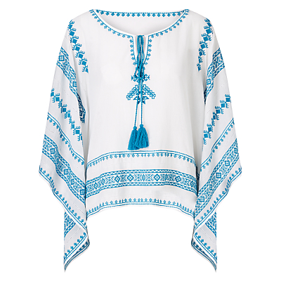 Star Mela Letti Embroidered Top, White/Turquoise