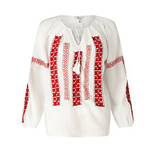 Buy Joie Breccia Blouse, Porcelain/Red Online at johnlewis.com