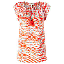Buy Joie Cotati Diamond Ikat Silk Top, Mayan Red Online at johnlewis.com