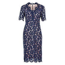 Buy Louche Vilma Contrast Lace Dress, Navy Online at johnlewis.com