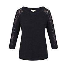 Buy Celuu Louisa Lace Panel Top, Navy Online at johnlewis.com