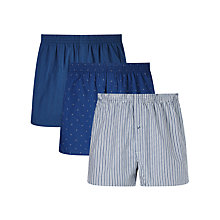 Buy John Lewis Milton Woven Cotton Boxers, Pack of 3, Blue Online at johnlewis.com
