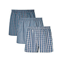 Buy John Lewis Fraddon Check Woven Cotton Boxers, Pack of 3, Blue Online at johnlewis.com