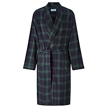 Buy John Lewis Blackburn Check Brushed Cotton Robe, Navy/Green Online at johnlewis.com