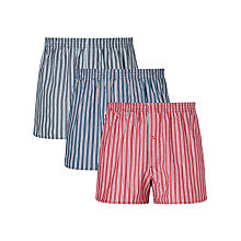 Buy John Lewis Rochester Stripe Woven Cotton Boxers, Pack of 3, Blue/Navy/Red Online at johnlewis.com