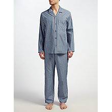 Buy John Lewis Rochester Satin Stripe Pyjamas, Blue/Red Online at johnlewis.com
