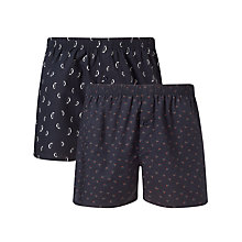 Buy John Lewis Penguin/Holly Cotton Boxer Shorts, Pack of 2, Blue Online at johnlewis.com